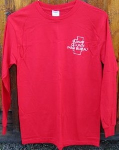 red tshirt summit county farm bureau logo