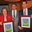 Rep. Marilyn Slaby and State Senator Frank LaRose receiving the 'Friends of Agriculture' award from Pete Schantz